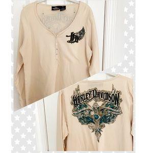 Harley Davidson Waffle Knit Graphic Henley XL